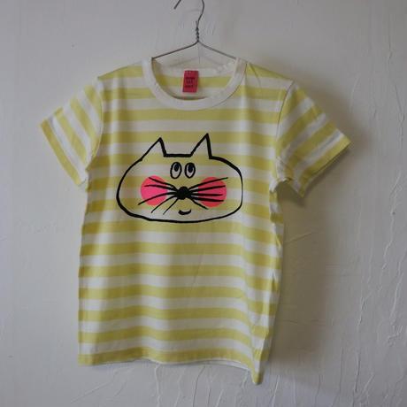 ▲送料無料 120サイズ/半そで ねこもぐらさん Tシャツ しましま オーガニックコットン ライトイエロー ボーダー ほっぺあり 1214番目のねこもぐらさん