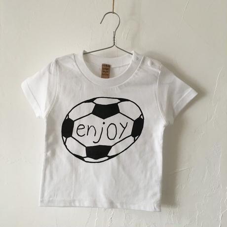▲送料無料 90サイズ/半そで uyoga enjoy soccer Tシャツ 5.6oz ホワイト