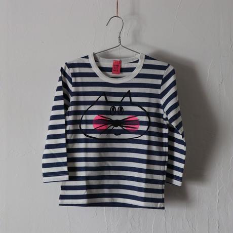 ▲送料無料  100サイズ/長そで ねこもぐらさん Tシャツ しましま オーガニックコットン スモーキーブルー ボーダー ほっぺあり 1221番目のねこもぐらさん