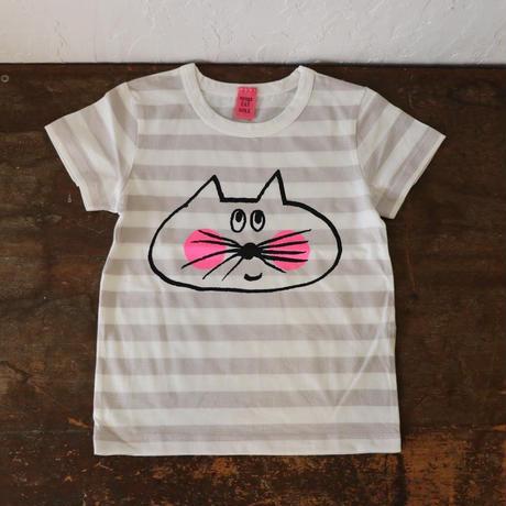 ▲送料無料 100サイズ/半そで ねこもぐらさん Tシャツ しましま オーガニックコットン ライトシルバーグレー ボーダー ほっぺあり 1203番目のねこもぐらさん