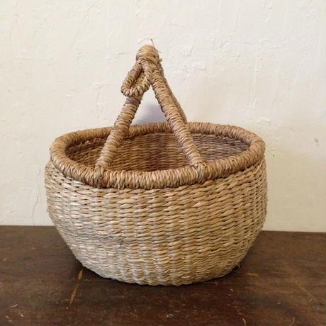 ベトナムのまるっこい手づくりかご handmade シーグラス ラウンド バスケットA Sサイズ AS-4