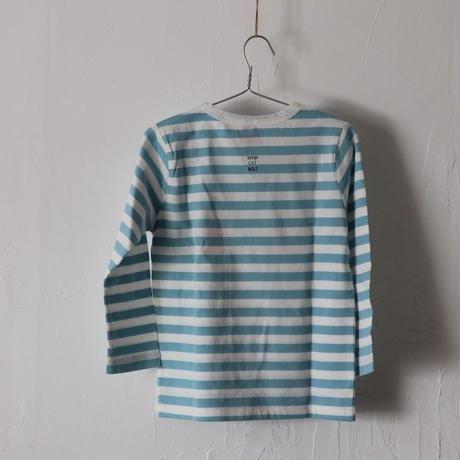 ▲送料無料  110サイズ/長そで ねこもぐらさん Tシャツ しましま オーガニックコットン アクアブルー ボーダー ほっぺあり 1224番目のねこもぐらさん