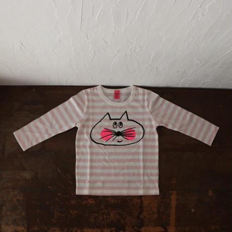 ▲送料無料  100サイズ/長そで ねこもぐらさん Tシャツ しましま オーガニックコットン ペールピンク ボーダー ほっぺあり 1217番目のねこもぐらさん