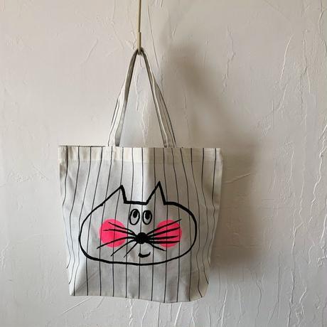 ▲送料無料 Sサイズ  ねこもぐらさん コットンツイル トートバッグ   uyoga cat mole  ペンシルストライプ ほっぺあり 1178番目のねこもぐらさん