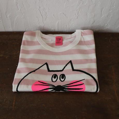 ▲送料無料 100サイズ/半そで ねこもぐらさん Tシャツ しましま オーガニックコットン ピンク ボーダー ほっぺあり 1202番目のねこもぐらさん