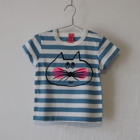 ▲送料無料 80サイズ/半そで ねこもぐらさん Tシャツ しましま オーガニックコットン ブルー ボーダー ほっぺあり 1191番目のねこもぐらさん
