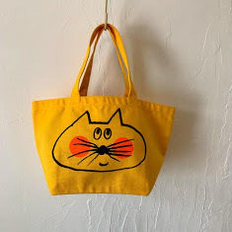 ▲送料無料 Sサイズ/キャンバス生地 ねこもぐらさん トートバッグ uyoga cat mole カナリアイエロー ほっぺあり 1151番目のねこもぐらさん