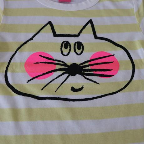 ▲送料無料 80サイズ/半そで ねこもぐらさん Tシャツ しましま オーガニックコットン ライトイエロー ボーダー ほっぺあり 1194番目のねこもぐらさん