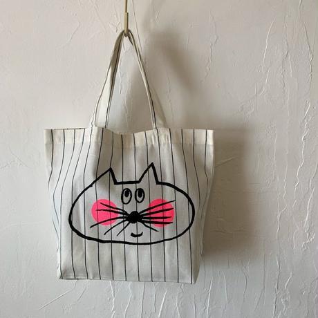 ▲送料無料 Sサイズ  ねこもぐらさん コットンツイル トートバッグ   uyoga cat mole  ペンシルストライプ ほっぺあり 1239番目のねこもぐらさん