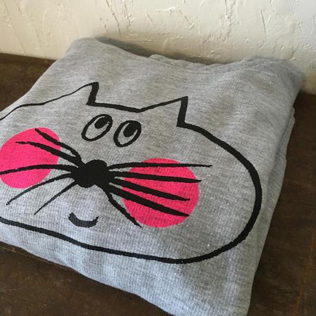 ▲送料無料 100サイズ/こども ねこもぐらさんスウェットR プルオーバーパーカー 7.5oz 裏起毛 uyoga cat mole グレー ほっぺあり 956番目のねこもぐらさん