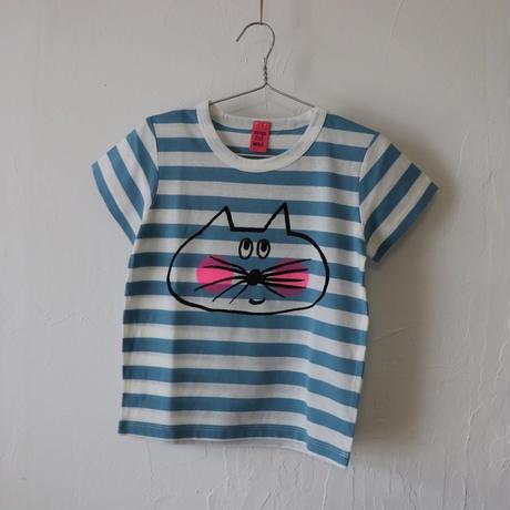 ▲送料無料 100サイズ/半そで ねこもぐらさん Tシャツ しましま オーガニックコットン ブルー ボーダー ほっぺあり 1201番目のねこもぐらさん