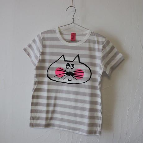 ▲送料無料 120サイズ/半そで ねこもぐらさん Tシャツ しましま オーガニックコットン ライトシルバーグレー ボーダー ほっぺあり 1212番目のねこもぐらさん