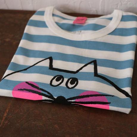 ▲送料無料 110サイズ/半そで ねこもぐらさん Tシャツ しましま オーガニックコットン ブルー ボーダー ほっぺあり 1206番目のねこもぐらさん