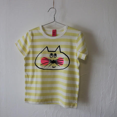 ▲送料無料 110サイズ/半そで ねこもぐらさん Tシャツ しましま オーガニックコットン ライトイエロー ボーダー ほっぺあり 1209番目のねこもぐらさん