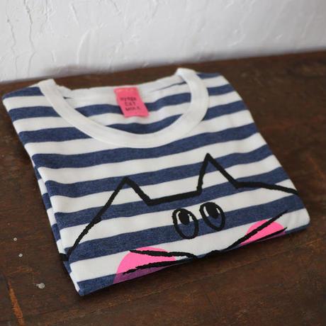 ◉オーダー専用▲送料無料 130サイズ/長そで ねこもぐらさんしましまTシャツE オーガニックコットン  uyoga cat mole  ブルー&グレー ボーダー ほっぺあり  2枚セット