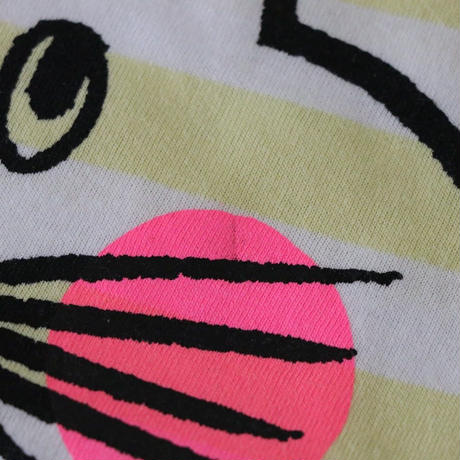 ▲送料無料 ▶︎OUTLET▶︎ 90サイズ/半そで ねこもぐらさん Tシャツ しましま オーガニックコットン ライトイエロー ボーダー ほっぺあり 1199番目のねこもぐらさん