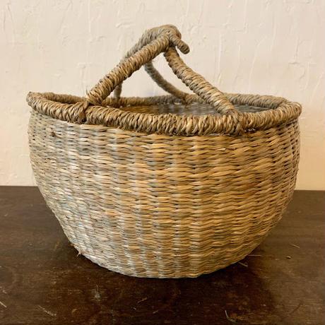 ベトナムのまるっこい手づくりかご handmade シーグラス ラウンド バスケットA Mサイズ AM-1