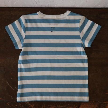 ▲送料無料 90サイズ/半そで ねこもぐらさん Tシャツ しましま オーガニックコットン ブルー ボーダー ほっぺあり 1197番目のねこもぐらさん