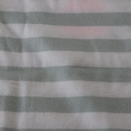 ▲送料無料 ▶︎OUTLET▶︎ 110サイズ/長そで ねこもぐらさん Tシャツ しましま オーガニックコットン ミントグリーン ボーダー ほっぺあり 1223番目のねこもぐらさん