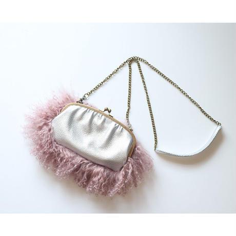 チベットラム がま口お財布バッグ (長財布サイズ)