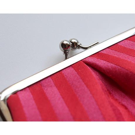 フランス生地のがま口ミニ財布・小物入れ RED&SILVER