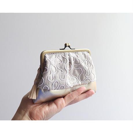 フランス生地のがま口ミニ財布・小物入れ BEIGE&GOLD