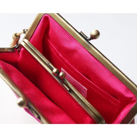 ツイード生地のがま口ミニ財布・小物入れ MINT BLUE&GOLD