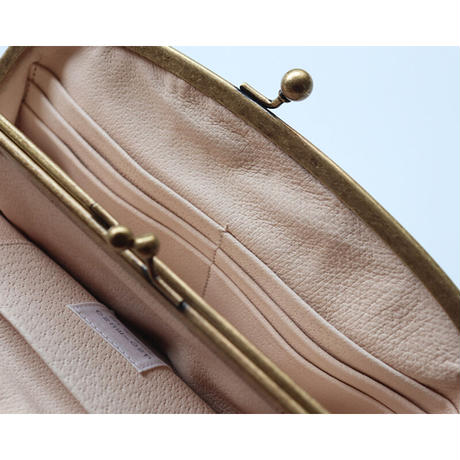 メタリックプラチナゴールド がま口お財布バッグ (長財布サイズ)