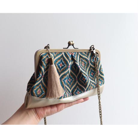 フランス生地のがま口お財布バッグ BLUE&GOLD
