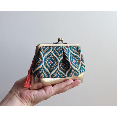 フランス生地のがま口財布・小物入れ BLUE&GOLD