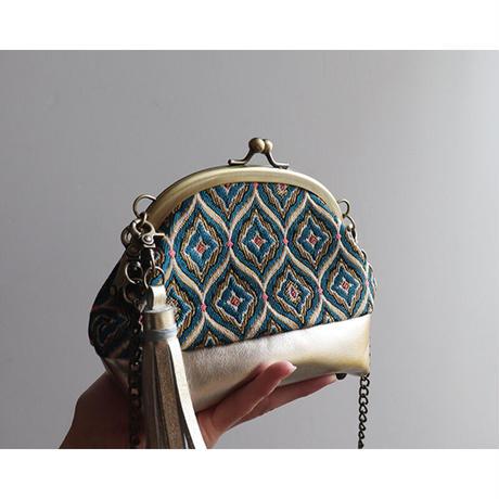 フランス生地のがま口お財布バッグ BLUE+GOLD