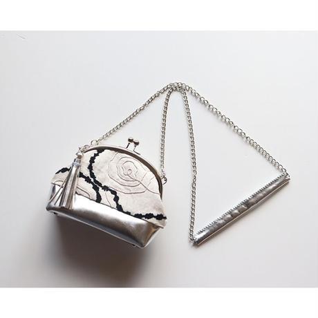 フランス生地のがま口お財布バッグ WHITE+SILVER