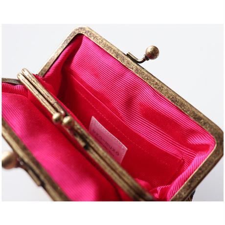 インド生地のがま口財布・小物入れ PINK&GOLD