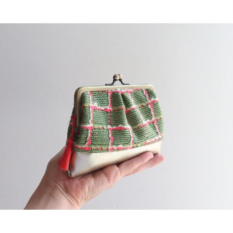 フランス生地のがま口財布・小物入れ GREEN&GOLD