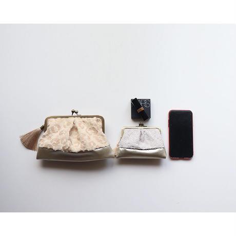 レオパード柄 がま口お財布バッグ IVORY&GOLD
