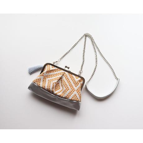 フォークロア フランス生地のがま口お財布バッグ YELLOW&SILVER