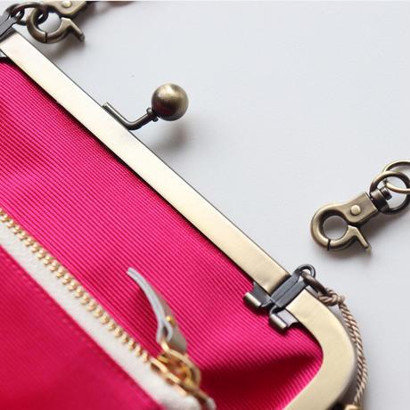 レオパード柄 がま口お財布バッグ BROWN&GOLD
