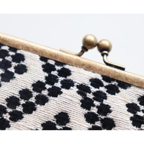 フォークロア フランス生地のがま口ミニ財布・小物入れ BLACK&BLACK