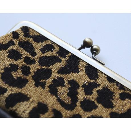 シェニール織レオパード柄のがま口ミニ財布・小物入れ