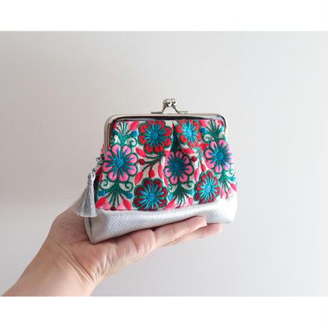 indian embroidery がま口ミニ財布・小物入れ PINK&SILVER