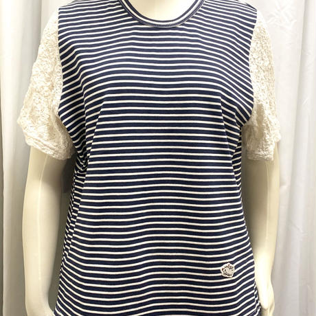 厚手ボーダーT-shirts  <Navy>