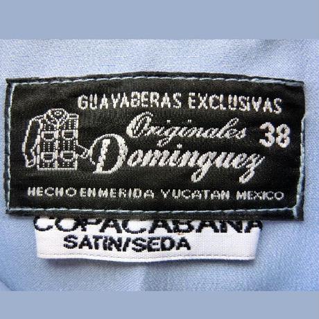 メキシカンシルクキューバシャツ(半袖グアヤベラシャツ) オープンカラー / 開襟 シャツ スカイブルー