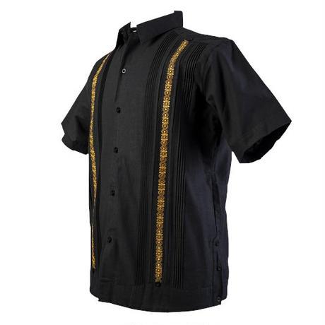 ピンタックキューバシャツ(半袖グアヤベラシャツ) ブラック