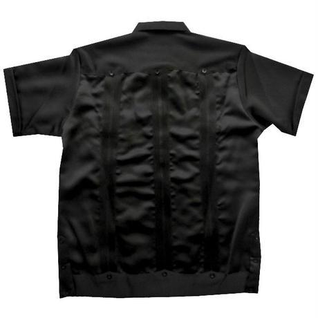 メキシカンシルクキューバシャツ(半袖グアヤベラシャツ) オープンカラー / 開襟 シャツ ブラック