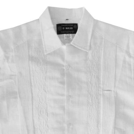 メキシカンリネンキューバシャツ(半袖グアヤベラシャツ) オープンカラー / 開襟 シャツ ホワイト