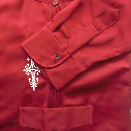 メキシカンシルクキューバシャツ(長袖グアヤベラシャツ) オープンカラー / 開襟 シャツ ワインレッド