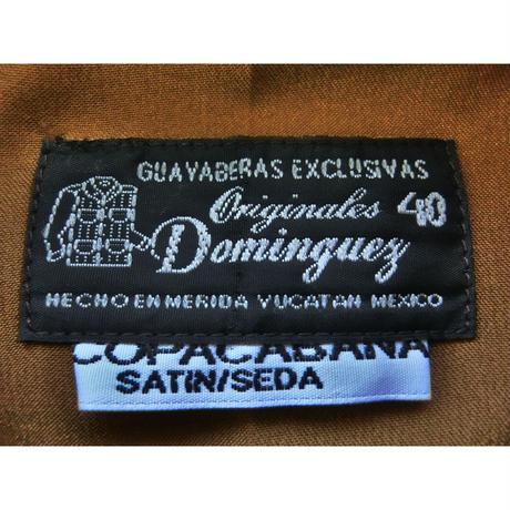 メキシカンシルクキューバシャツ(長袖グアヤベラシャツ) オープンカラー / 開襟 シャツ ブラウン