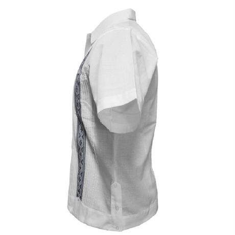 リネンピンタックキューバシャツ(半袖グアヤベラシャツ) オープンカラー / 開襟 シャツ ホワイト