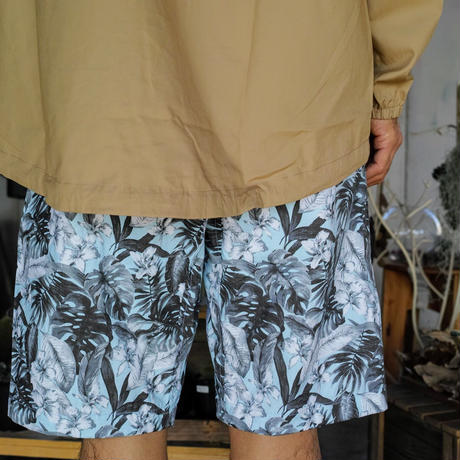 Monitaly, Drop Crotch Shorts, Cotton Print Floral Turq