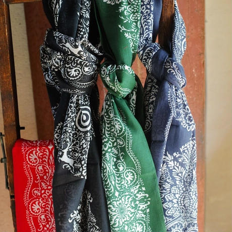 South2 West8,Stole -Cotton Gauze/target & paisley